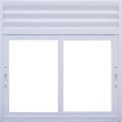 Imagem do produto Janela de Correr 2 folhas com ventilação permanente em veneziana perfurada na bandeira fixa