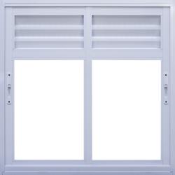 Imagens do produto Janela de Correr 2 folhas com ventilação permanente em veneziana perfurada na folha (bandeira móvel)