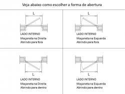 Imagens do produto Porta de Giro Metade Lambris Horizontais e Metade com Vidro Temperado 6mm - 1 folha
